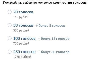 Бонусы за голоса ВКонтакте