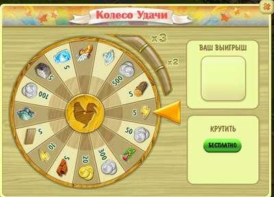 Колесо удачи в игре ВКонтакте «Ферма Джейн»